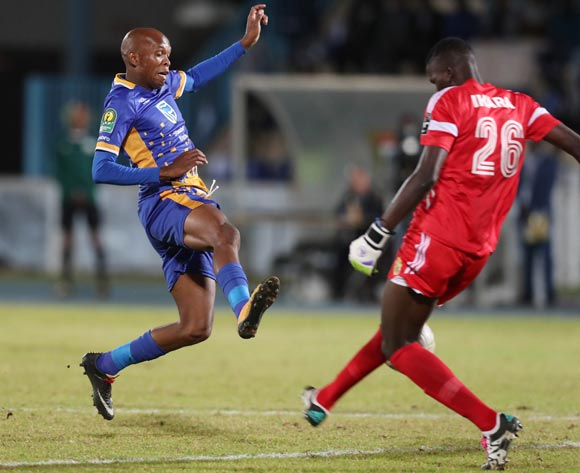 Segolame Boy of Township Rollers challenged by Tom Ikara of KCCA  during the 2018 CAF Champions League football match between Township Rollers and KCCA at the National Stadium, Gaborone, Botswana on 04 May 2018 ©Gavin Barker/BackpagePix