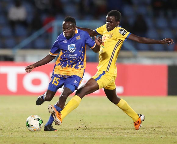 Ivan Ntege of Township Rollers challenged by Jackson Nunda of KCCA during the 2018 CAF Champions League football match between Township Rollers and KCCA at the National Stadium, Gaborone, Botswana on 04 May 2018 ©Gavin Barker/BackpagePix