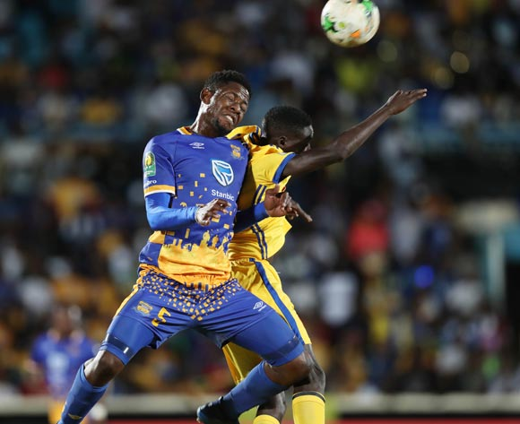 Simisani Mathumo of Township Rollers wins header against Paul Derrick Nsibambi of KCCA during the 2018 CAF Champions League football match between Township Rollers and KCCA at the National Stadium, Gaborone, Botswana on 04 May 2018 ©Gavin Barker/BackpagePix