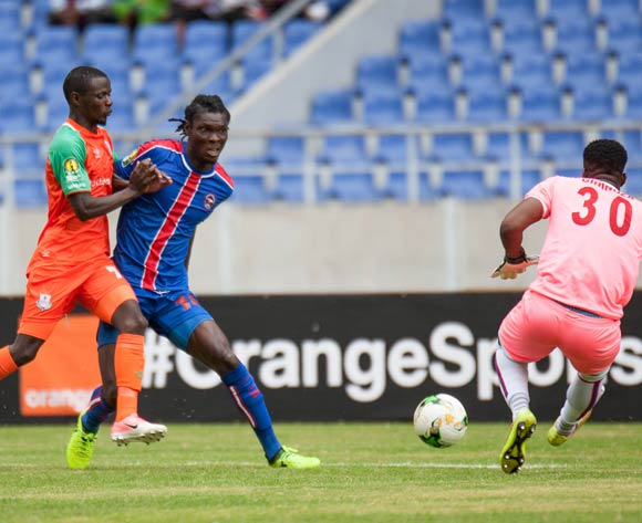 Zesco United FC striker Lazarous Kambole in a tussle for the ball against defender Stanley Umukoro while goalkeeper Sandile Lawrence Ginindza comes for the ball during the 2018 CAF Champions League football match between Zesco United FC and Mbabane Swallows at the Levy Mwanawasa Stadium in Ndola on 05 May 2018 ©BackpagePix