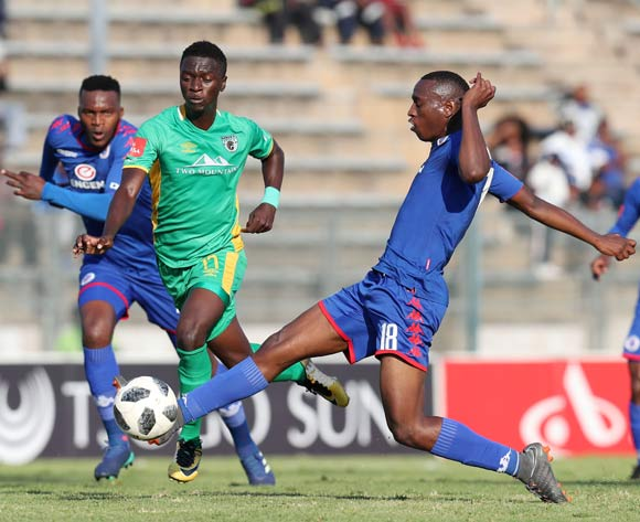 Robin Ngalande of Baroka tackled by Siya Nhlapo of Supersport United during the Absa Premiership 2017/18 match between Supersport United and Baroka FC at Lucas Moripe Stadium, Atteridgeville on 12 May 2018 ©Muzi Ntombela/BackpagePix