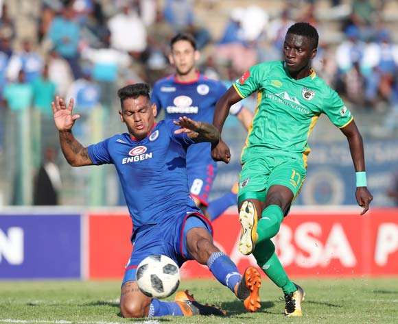 Robin Ngalande of Baroka tackled by Clayton Daniels of Supersport United during the Absa Premiership 2017/18 match between Supersport United and Baroka FC at Lucas Moripe Stadium, Atteridgeville on 12 May 2018 ©Muzi Ntombela/BackpagePix