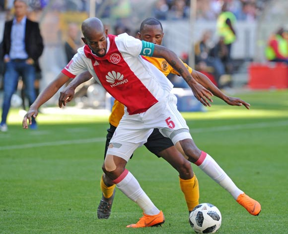 Mosa Lebusa of Ajax Cape Town shields the ball from Bernard Parker of Kaizer Chiefs during the Absa Premiership 2017/18 game between Ajax Cape Town and Kaizer Chiefs at Cape Town Stadium on 12 May 2018 © Ryan Wilkisky/BackpagePix