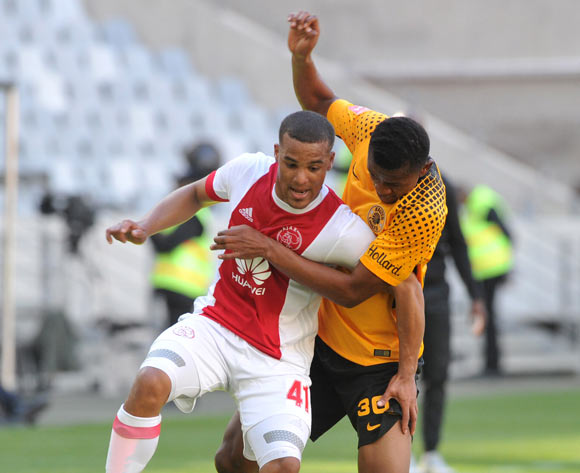 Fagrie Lakay of Ajax Cape Town is challenged by Siyabonga Ngezana of Kaizer Chiefs during the Absa Premiership 2017/18 game between Ajax Cape Town and Kaizer Chiefs at Cape Town Stadium on 12 May 2018 © Ryan Wilkisky/BackpagePix