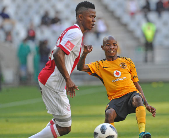 Joseph Molangoane of Kaizer Chiefs gets his pass away as he is challenged by Rodrick Kabwe of Ajax Cape Town during the Absa Premiership 2017/18 game between Ajax Cape Town and Kaizer Chiefs at Cape Town Stadium on 12 May 2018 © Ryan Wilkisky/BackpagePix