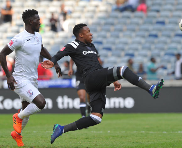 Happy Jele of Orlando Pirates challenges Siphelele Mthembu of Free State Stars during the Absa Premiership match between Orlando Pirates and  Free State Stars on12 May  2018 at Orlando Stadium Pic Sydney Mahlangu/BackpagePix