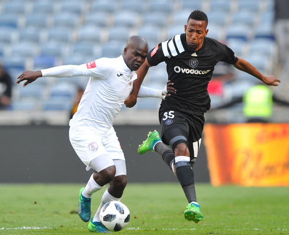 Diamond Thopola of Orlando Pirates challenges Goodman Dlamini of Free State Stars during the Absa Premiership match between Orlando Pirates and  Free State Stars on12 May  2018 at Orlando Stadium Pic Sydney Mahlangu/BackpagePix