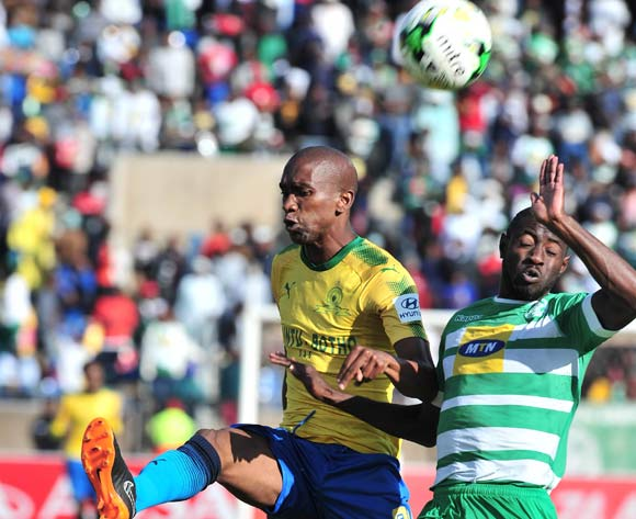 Deon Hotto of Bloemfontein Celtic challenged by Anele Ngcongca of Mamelodi Sundowns during the Absa Premiership 2017/18 football match between Bloemfontein Celtic and Mamelodi Sundowns at Dr Petrus Molemela Stadium, Bloemfontein on 12 May 2018 ©Samuel Shivambu/BackpagePix