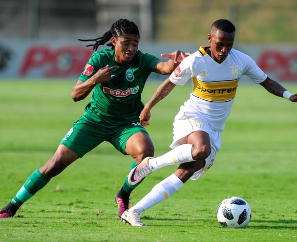 Siyethemba Mnguni of AmaZulu FC challenges Bradley Ralani of Cape Town City FC during the Absa Premiership match between AmaZulu FC and Cape Town City on 12 May 2018 at  King Zwelithini Stadium,Durban Pic Gerhard Duraan/BackpagePix