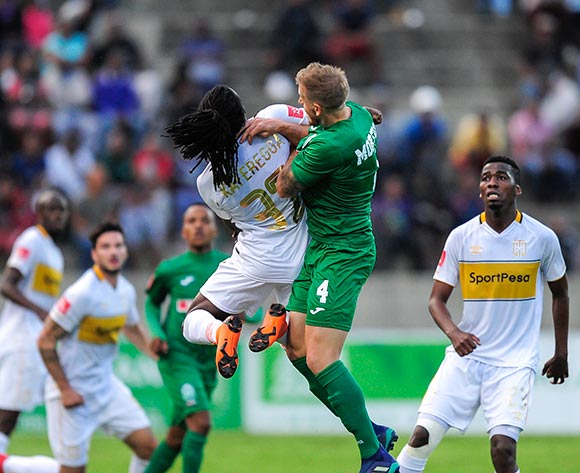 Allan Kateregga of Cape Town City FC and Michael Morton of AmaZulu FC both compete for the high ball during the Absa Premiership match between AmaZulu FC and Cape Town City on 12 May 2018 at  King Zwelithini Stadium,Durban Pic Gerhard Duraan/BackpagePix