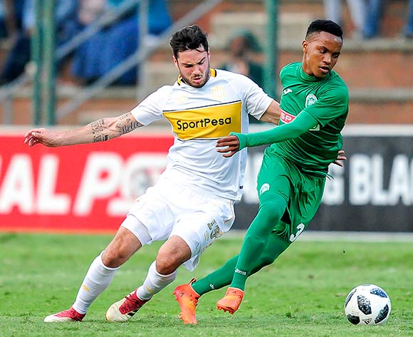 Roland Putsche of Cape Town City FC challenges Siyethemba Mnguni of AmaZulu FC during the Absa Premiership match between AmaZulu FC and Cape Town City on 12 May 2018 at  King Zwelithini Stadium,Durban Pic Gerhard Duraan/BackpagePix