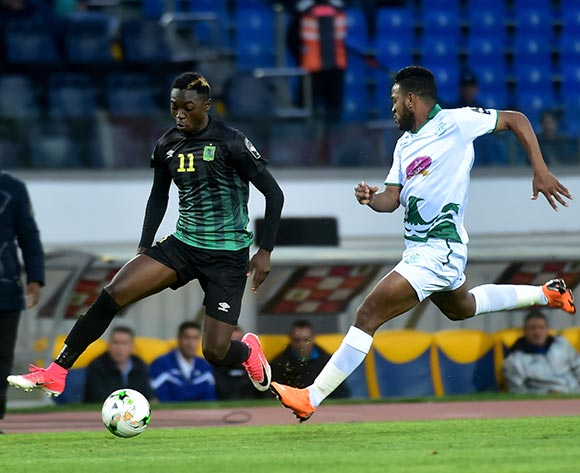 Raja Club Athletic player (R) in action against AS Vita Club player   Chadrack Muzungu Lukombe (L) during the African Confederation Cup 2018 qualifying  soccer match between  Raja Club Athletic from Morocco and AS Vita Club  from Congo at Prince Moulay Abdellah Stadiumin Rabat, Morocco, 06 May 2018