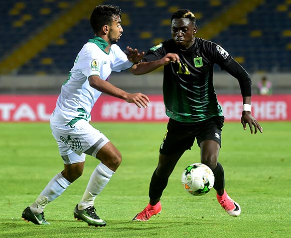 Raja Club Athletic player  (L) in action against AS Vita Club player   Chadrack Muzungu Lukombe   (R) during the African Confederation Cup 2018 qualifying  soccer match between  Raja Club Athletic from Morocco and AS Vita Club  from Congo at Prince Moulay Abdellah Stadiumin Rabat, Morocco, 06 May 2018.