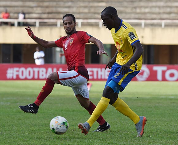 Walid Said Ebeid of Al Ahly Sporting Club tries to challenge Habib Kavuma of Kampala Capital City Authority FC (KCCA) during the 2018 Caf Champions League on 15 May 2018 at Mandela Stadium, Namboole, Kampala. ©Ismail Kezaala/BackpagePix