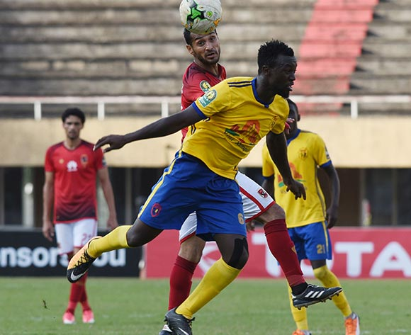 Juma Sadam Ibrahim of Kampala Capital City Authority FC (KCCA) heads the ball during the 2018 Caf Champions League against Al Ahly Sporting Club on 15 May 2018 at Mandela Stadium, Namboole, Kampala. ©Ismail Kezaala/BackpagePix