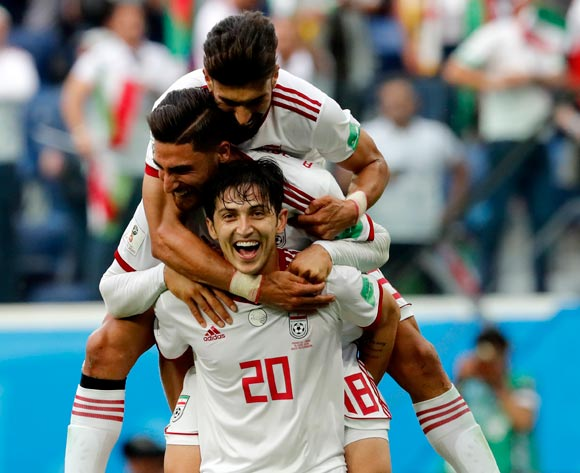 epa06810849 Players of Iran celebrate winning the FIFA World Cup 2018 group B preliminary round soccer match between Morocco and Iran in St.Petersburg, Russia, 15 June 2018.
