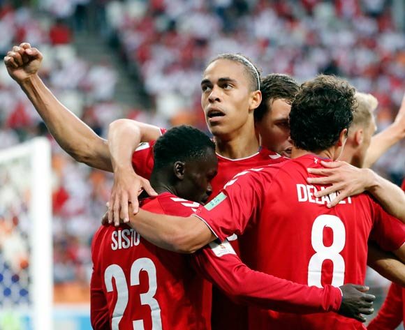 epa06814020 Yussuf Poulsen of Denmark (2L) celebrates scoring the 1-0 with teammates during the FIFA World Cup 2018 group C preliminary round soccer match between Peru and Denmark in Saransk, Russia, 16 June 2018.