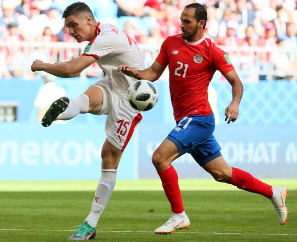 epa06815388 Nikola Milenkovic (L) of Serbia in action against Marcos Urena (R) of Costa Rica during the FIFA World Cup 2018 group E preliminary round soccer match between Costa Rica and Serbia in Samara, Russia, 17 June 2018.