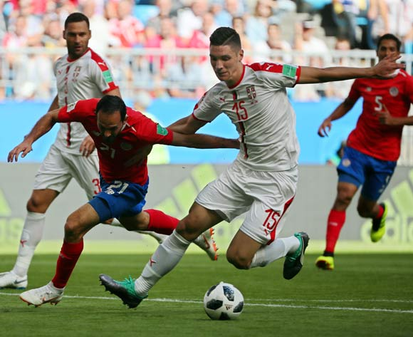 epa06815405 Nikola Milenkovic (C-R) of Serbia in action against Marcos Urena (front L) of Costa Rica during the FIFA World Cup 2018 group E preliminary round soccer match between Costa Rica and Serbia in Samara, Russia, 17 June 2018.