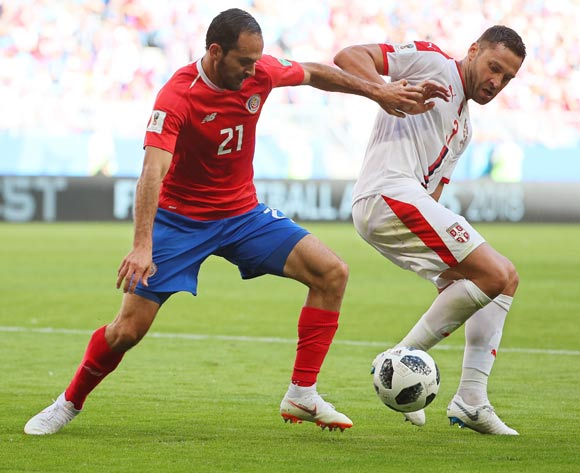 epa06815468 Marcos Urena (L) of Costa Rica in action against Dusko Tosic (R) of Serbia during the FIFA World Cup 2018 group E preliminary round soccer match between Costa Rica and Serbia in Samara, Russia, 17 June 2018.