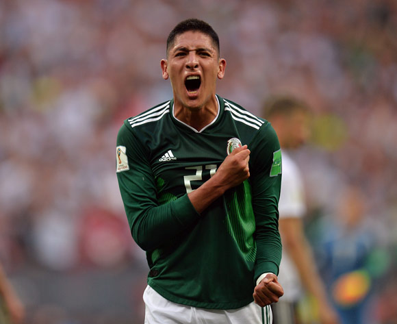 Edson Alvarez of Mexico reacts after winning the FIFA World Cup 2018 group F preliminary round soccer match between Germany and Mexico in Moscow, Russia, 17 June 2018.