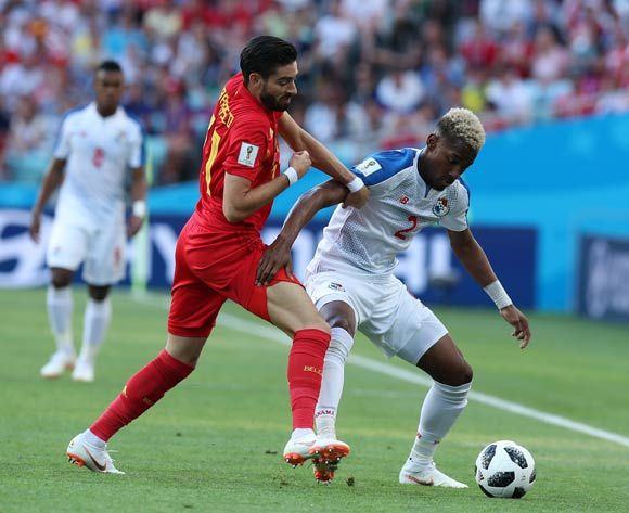 epa06819071 Yannick Carrasco of Belgium and Michael Murillo of Panama (R) in action during the FIFA World Cup 2018 group G preliminary round soccer match between Belgium and Panama in Sochi, Russia, 18 June 2018.
