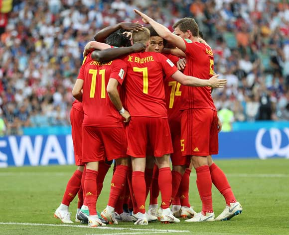 epa06819365 Players of Belgium celebrate a goal during the FIFA World Cup 2018 group G preliminary round soccer match between Belgium and Panama in Sochi, Russia, 18 June 2018.