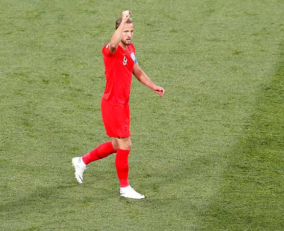 epa06819651 Harry Kane of England celebrates scoring the first goal during the FIFA World Cup 2018 group G preliminary round soccer match between Tunisia and England in Volgograd, Russia, 18 June 2018.