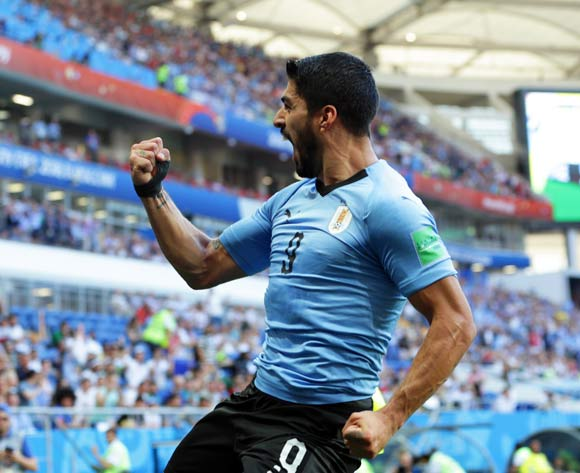 Luis Suarez of Uruguay celebrates after scoring the 1-0 lead during the FIFA World Cup 2018 group A preliminary round soccer match between Uruguay and Saudi Arabia in Rostov-On-Don, Russia, 20 June 2018.