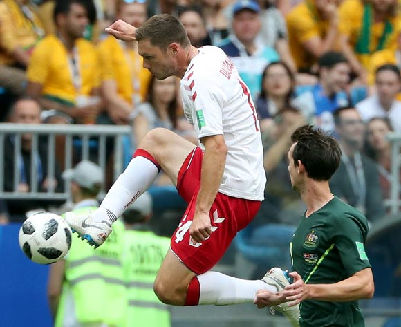 epa06827168 Henrik Dalsgaard of Denmark in action during the FIFA World Cup 2018 group C preliminary round soccer match between Denmark and Australia in Samara, Russia, 21 June 2018.