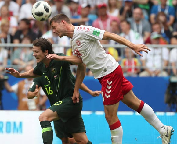 epa06827205 Henrik Dalsgaard (R) of Denmark and Aziz Behich of Australia in action during the FIFA World Cup 2018 group C preliminary round soccer match between Denmark and Australia in Samara, Russia, 21 June 2018.