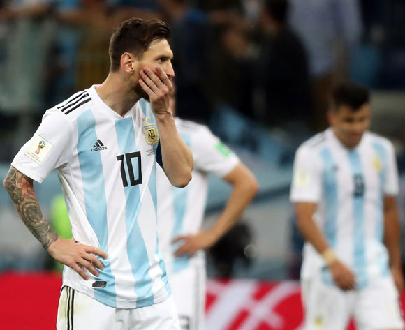 epa06829064 Lionel Messi of Argentina reacts after the 0-3  during the FIFA World Cup 2018 group D preliminary round soccer match between Argentina and Croatia in Nizhny Novgorod, Russia, 21 June 2018.