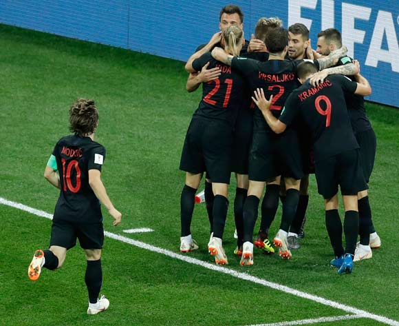 epa06829067 Players of Croatia celebrate the 0-3 goal during the FIFA World Cup 2018 group D preliminary round soccer match between Argentina and Croatia in Nizhny Novgorod, Russia, 21 June 2018.