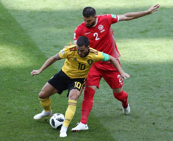 epa06832825 Eden Hazard (L) of Belgium and Syam Ben Youssef of Tunisia in action during the FIFA World Cup 2018 group G preliminary round soccer match between Belgium and Tunisia in Moscow, Russia, 23 June 2018.