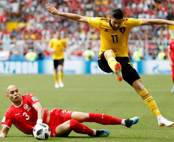 epa06833118 Yohan Benalouane (L) of Tunisia and Yannick Carrasco of Belgium in action during the FIFA World Cup 2018 group G preliminary round soccer match between Belgium and Tunisia in Moscow, Russia, 23 June 2018.