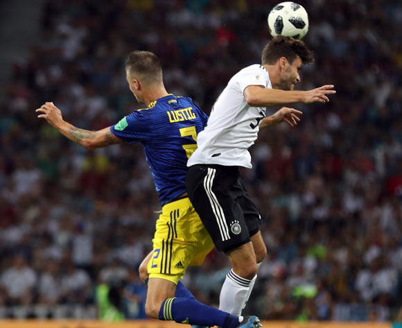 epa06834467 Jonas Hector of Germany (R) and Mikael Lustig of Sweden (L) in action during the FIFA World Cup 2018 group F preliminary round soccer match between Germany and Sweden in Sochi, Russia, 23 June 2018.
