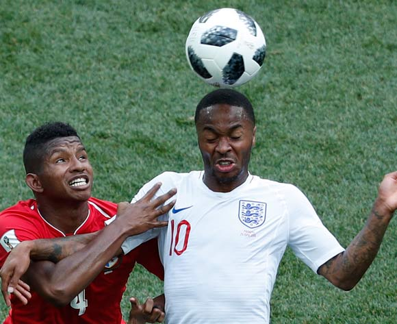 epa06835802 Raheem Sterling (R) of England and Fidel Escobar of Panama in action during the FIFA World Cup 2018 group G preliminary round soccer match between England and Panama in Nizhny Novgorod, Russia, 24 June 2018.