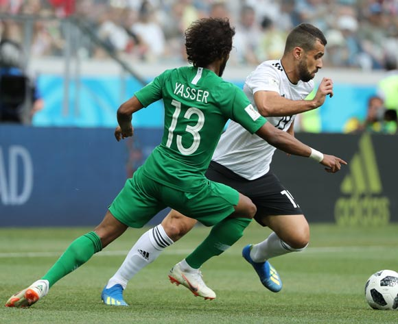 epa06838892 Abdallah Said (R) of Egypt and Yasir Al-Shahrani of Saudi Arabia in action during the FIFA World Cup 2018 group A preliminary round soccer match between Saudi Arabia and Egypt in Volgograd, Russia, 25 June 2018.