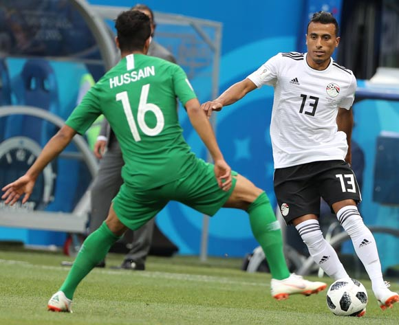 epa06838928 Mohamed Abdelshafy (R) of Egypt in action during the FIFA World Cup 2018 group A preliminary round soccer match between Saudi Arabia and Egypt in Volgograd, Russia, 25 June 2018.