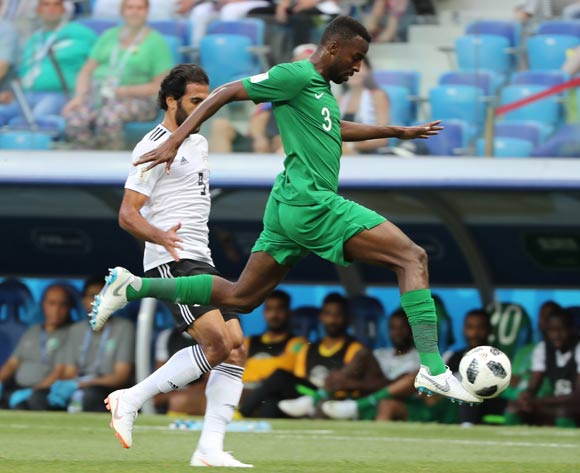 epa06838937 Osama Hawsawi of Saudi Arabia in action during the FIFA World Cup 2018 group A preliminary round soccer match between Saudi Arabia and Egypt in Volgograd, Russia, 25 June 2018.
