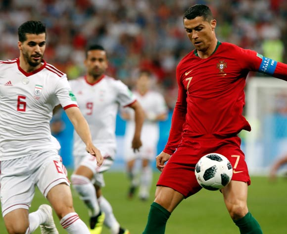 epa06839901 Cristiano Ronaldo of Portugal in action during the FIFA World Cup 2018 group B preliminary round soccer match between Iran and Portugal in Saransk, Russia, 25 June 2018.