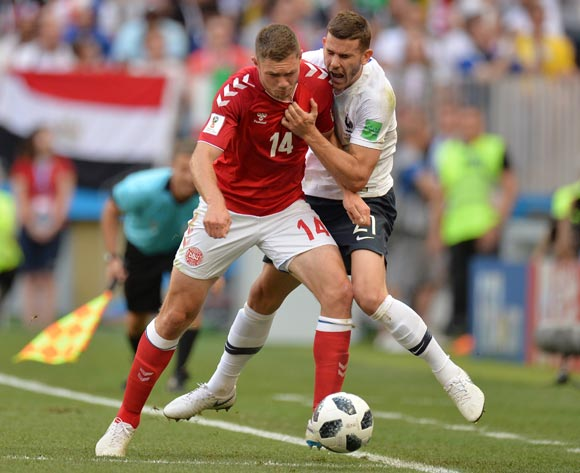 epa06841605 Henrik Dalsgaard (L) of Denmark and Lucas Hernandez of France in action during the FIFA World Cup 2018 group C preliminary round soccer match between Denmark and France in Moscow, Russia, 26 June 2018.