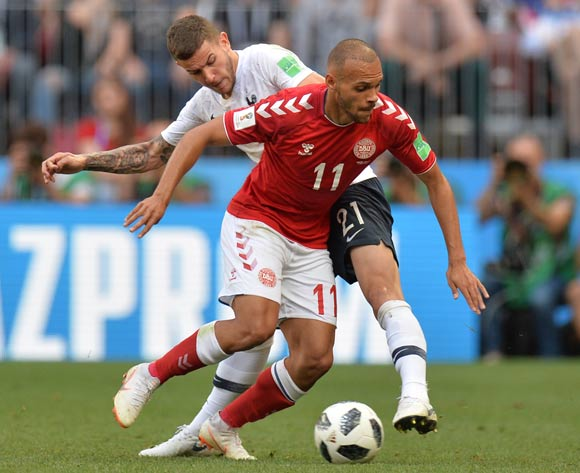 epa06841609 Martin Braithwaite (front) of Denmark and Lucas Hernandez of France in action during the FIFA World Cup 2018 group C preliminary round soccer match between Denmark and France in Moscow, Russia, 26 June 2018.
