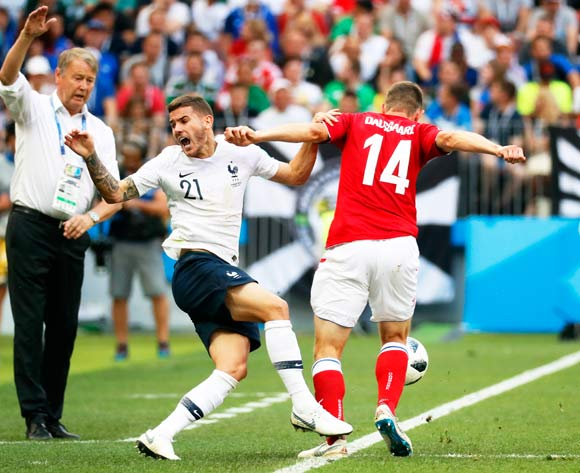 epa06841625 Lucas Hernandez (C) of France in action against Henrik Dalsgaard (R) of Denmark during the FIFA World Cup 2018 group C preliminary round soccer match between Denmark and France in Moscow, Russia, 26 June 2018.