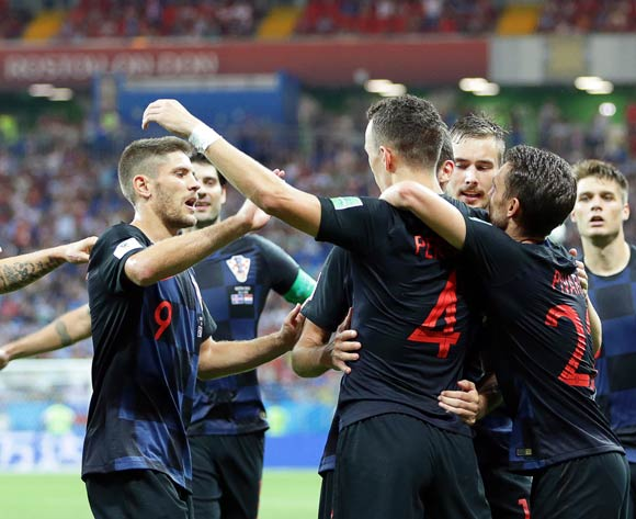 epa06842851 Ivan Perisic (C-R) of Croatia celebrates with his teammates after scoring the winning goal during the FIFA World Cup 2018 group D preliminary round soccer match between Iceland and Croatia in Rostov-On-Don, Russia, 26 June 2018. Croatia won 2-1.