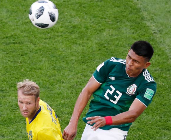 epa06844235 Jesus Gallardo of Mexico in action during the FIFA World Cup 2018 group F preliminary round soccer match between Mexico and Sweden in Ekaterinburg, Russia, 27 June 2018.