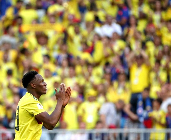 epa06847765 Yerry Mina of Colombia reacts after scoring the 1-0 during the FIFA World Cup 2018 group H preliminary round soccer match between Senegal and Colombia in Samara, Russia, 28 June 2018.