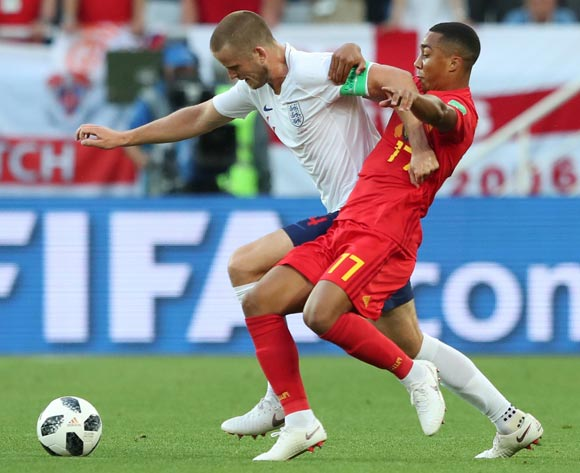 epa06848296 Eric Dier (L) of England and Youri Tielemans of Belgium in action during the FIFA World Cup 2018 group G preliminary round soccer match between England and Belgium in Kaliningrad, Russia, 28 June 2018.