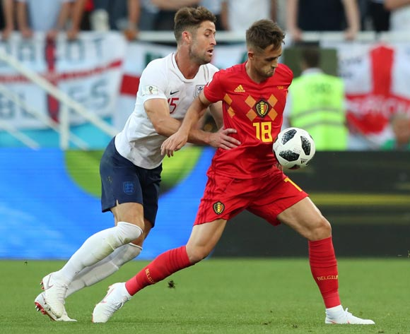 Gary Cahill (L) of England and Adnan Januzaj of Belgium in action during the FIFA World Cup 2018 group G preliminary round soccer match between England and Belgium in Kaliningrad, Russia, 28 June 2018.