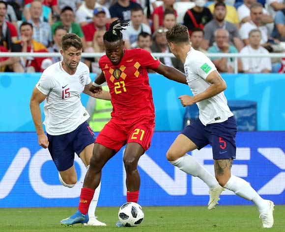 Gary Cahill of England (L), Michy Batshuayi of Belgium (C) and John Stones of England in action during the FIFA World Cup 2018 group G preliminary round soccer match between England and Belgium in Kaliningrad, Russia, 28 June 2018.